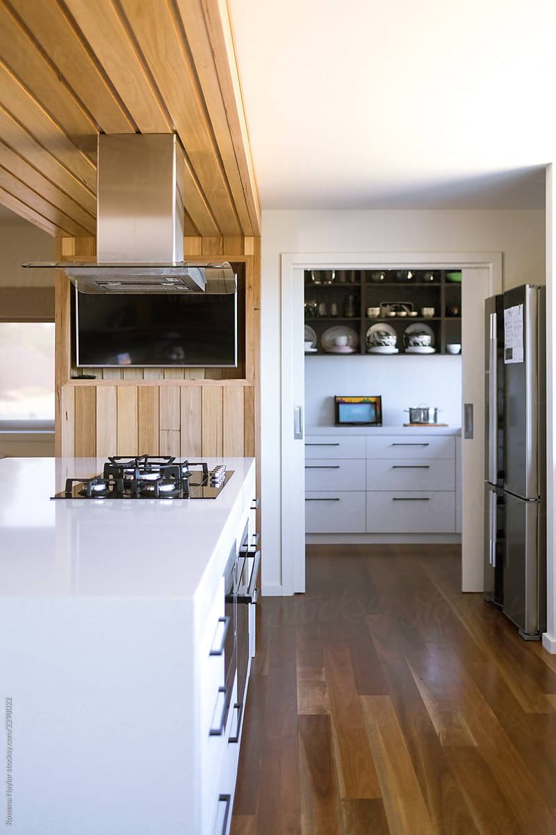 Kitchen Open Door Design Modern Kitchen With Butlers Pantry And Door Open Stocksy United