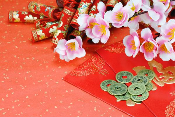 New Year decorations, including red envelopes for money. Chinese New ...