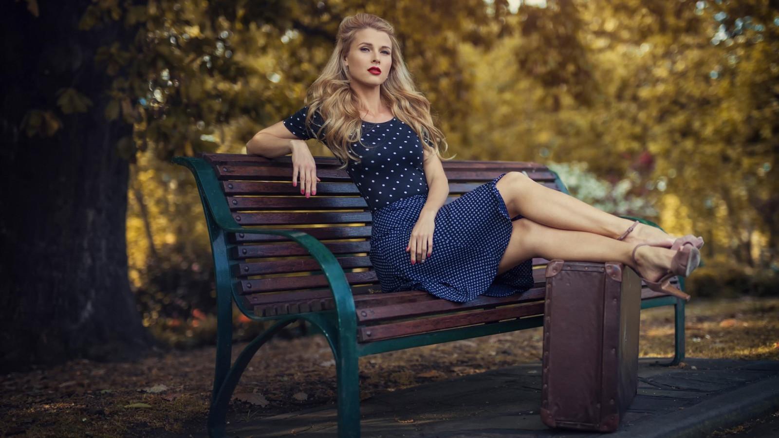 Girl Sitting On Bench Wallpaper Wallpaper Women Outdoors Model Blonde Depth Of Field