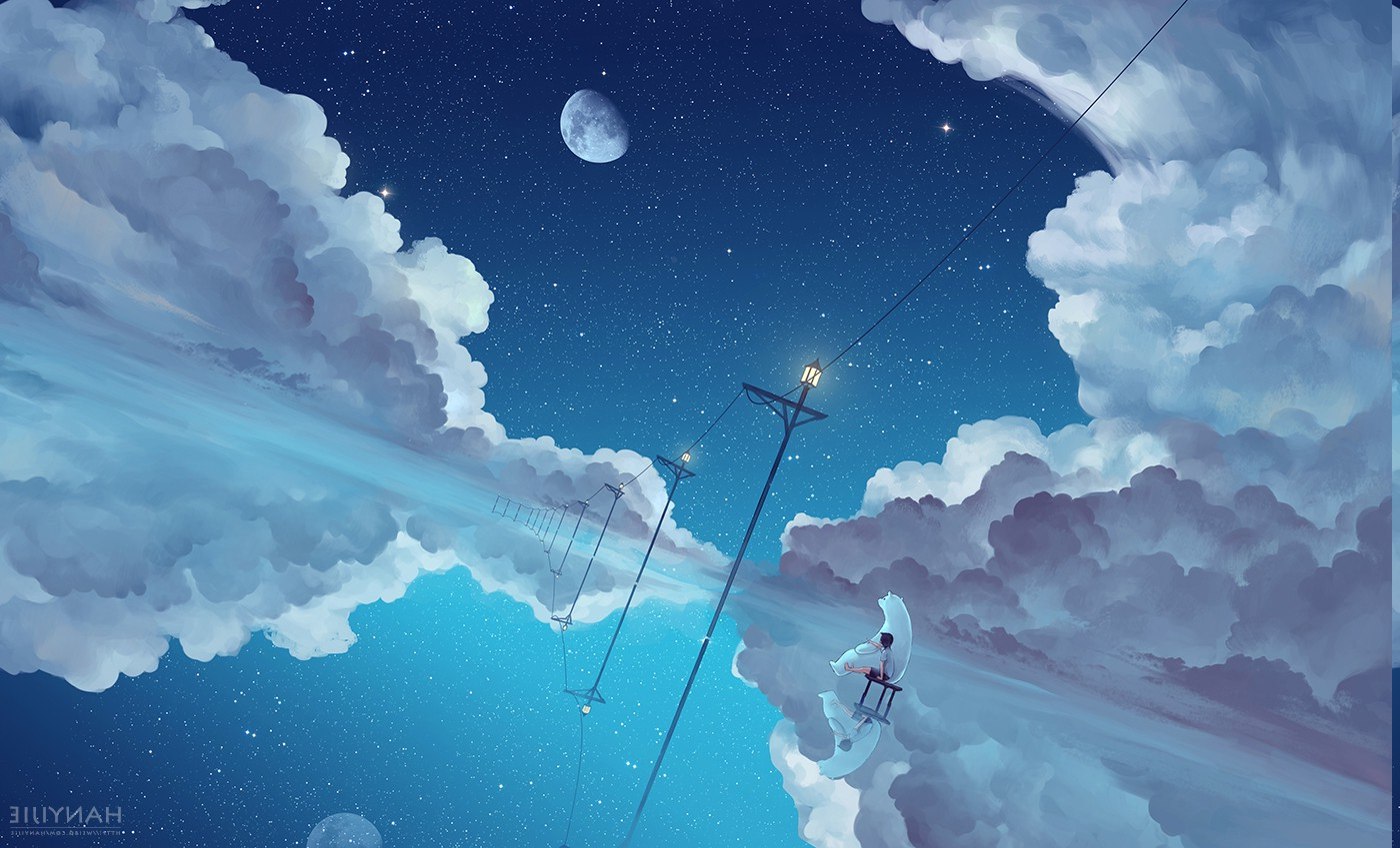 Sky Anime Wallpaper Landscape Anime Water Space Sky Clouds Earth