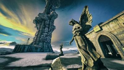 Wallpaper : 5120x2880 px, angel, screen shot, statue, The Talos Principle, tower, video games ...
