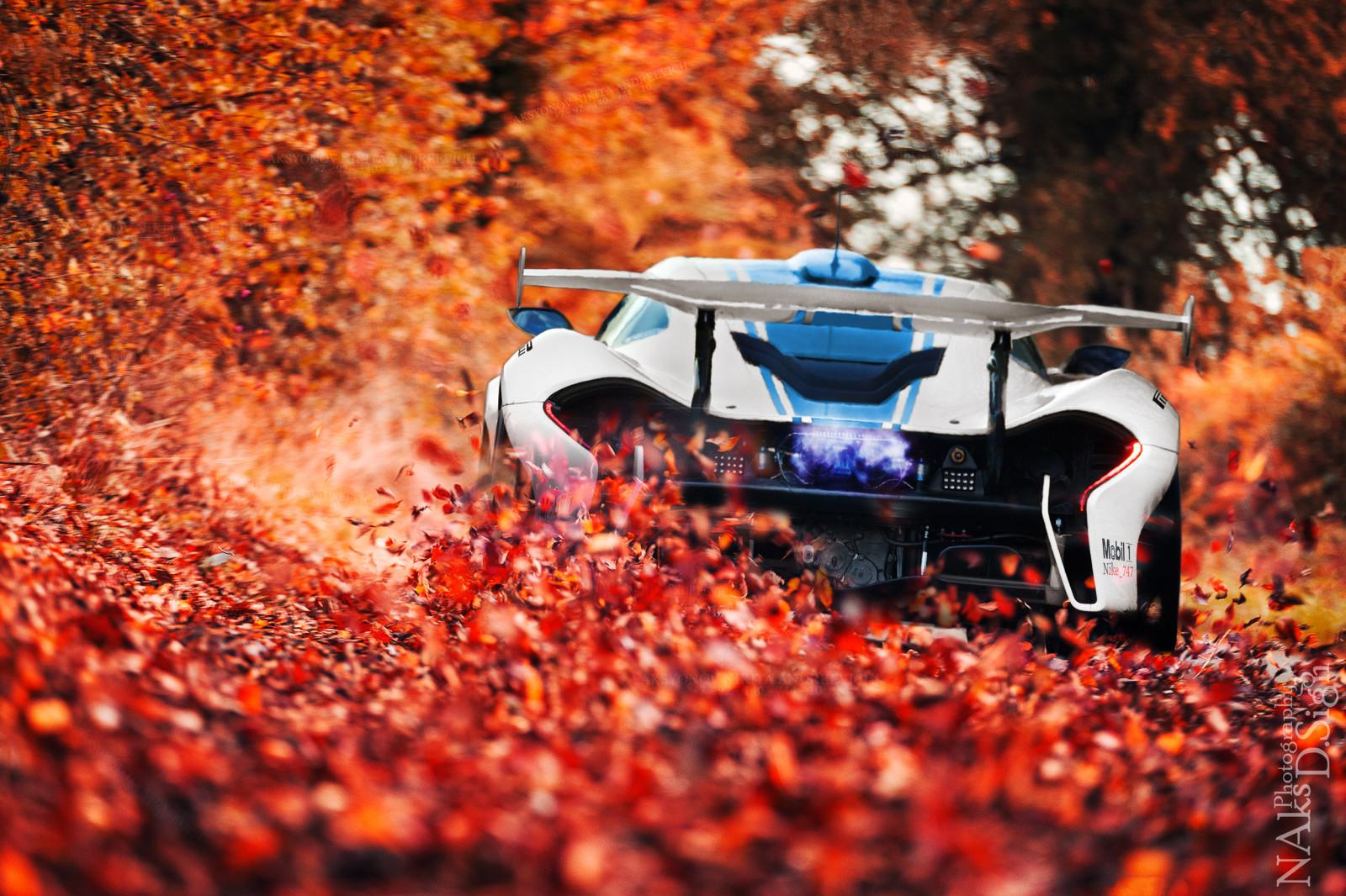 Hd Hybrid Car Wallpaper Wallpaper Trees Leaves Sport Car Red Photography