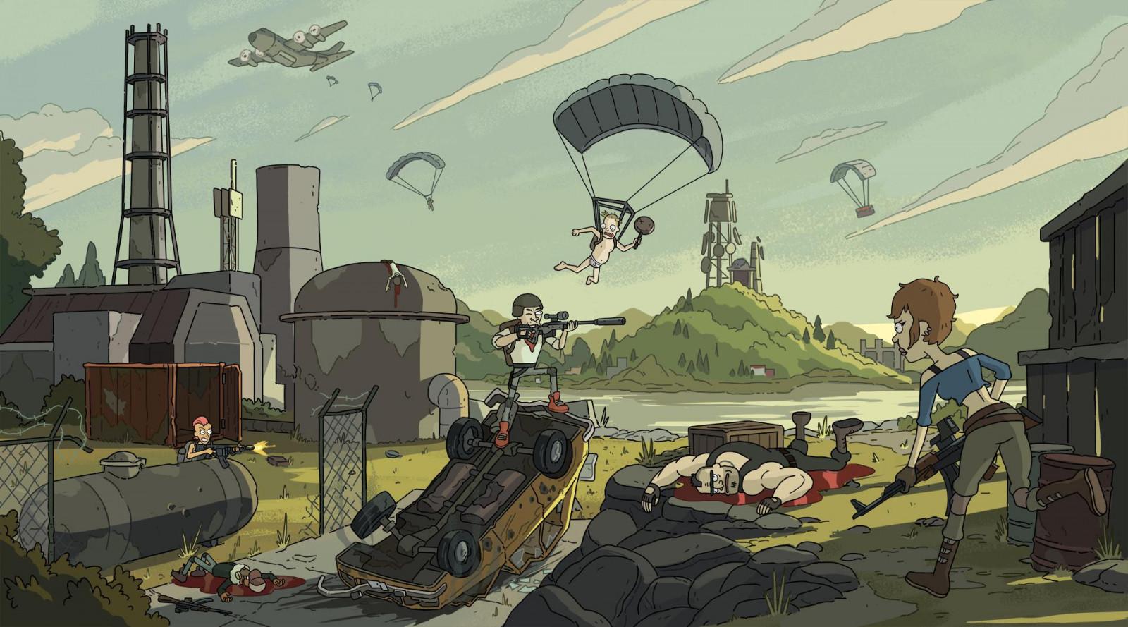 Pubg Parachute Wallpaper Wallpaper Video Games Digital Art Pubg Cartoon Gun