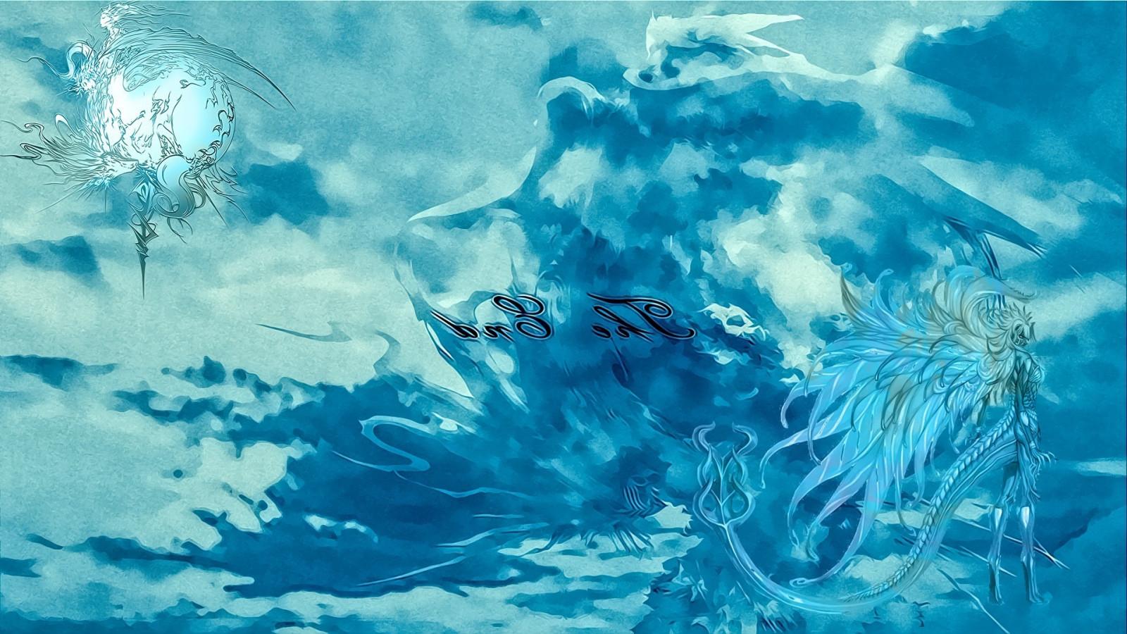 Japanese Wave Wallpaper Hd Wallpaper Illustration Sea Blue Underwater Final