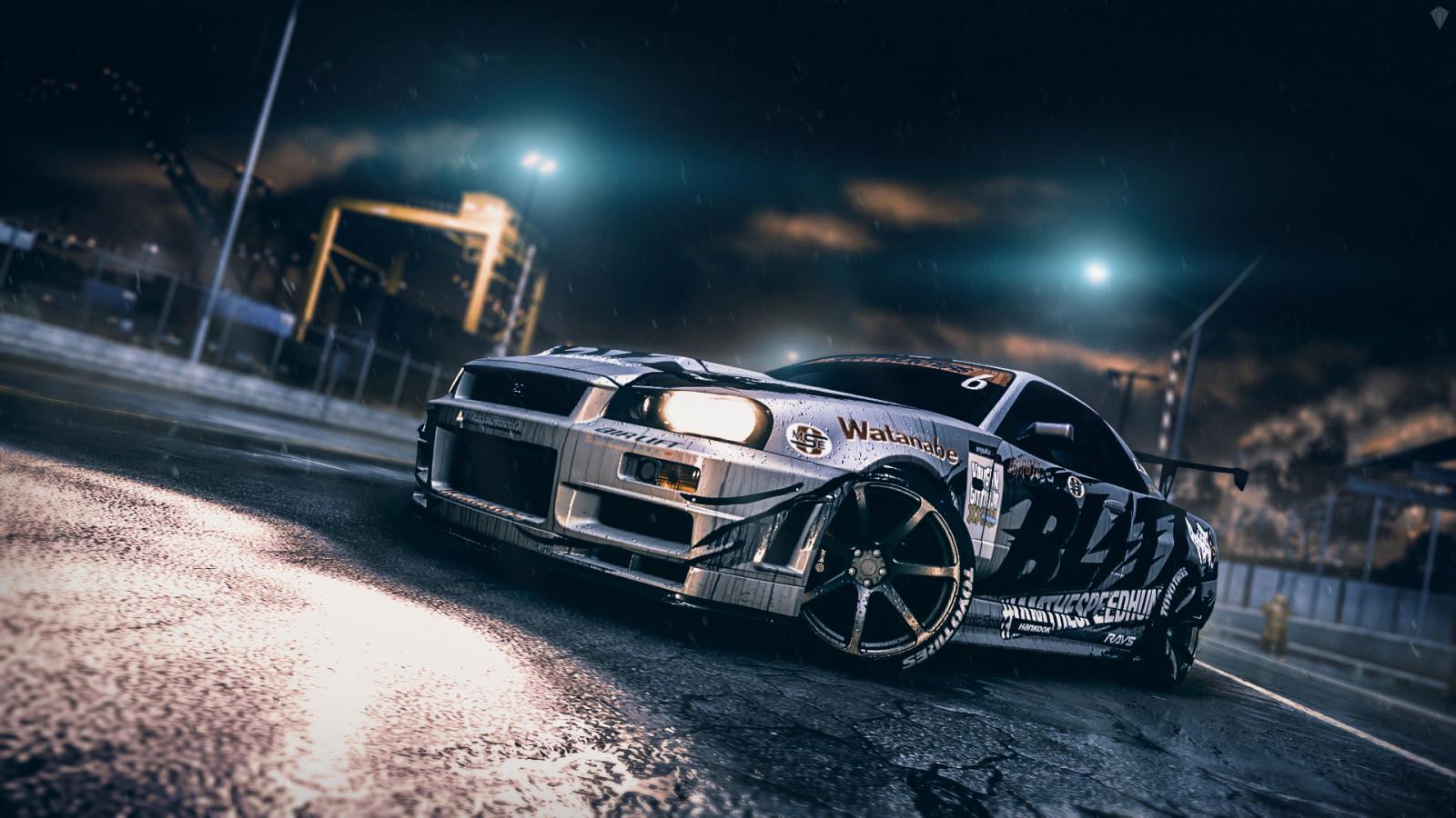 Racing Car Wallpaper 1080p Wallpaper Night Bmw Rain Skyline Nissan Playstation