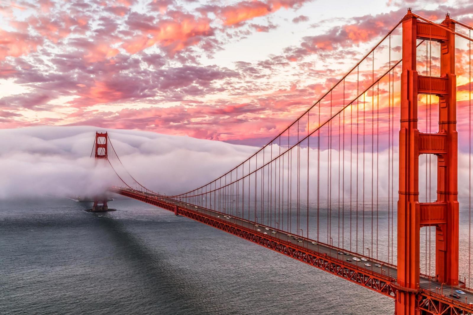 San Francisco Bridge Hd Wallpaper Fond D 233 Cran Le Coucher Du Soleil Mer Architecture