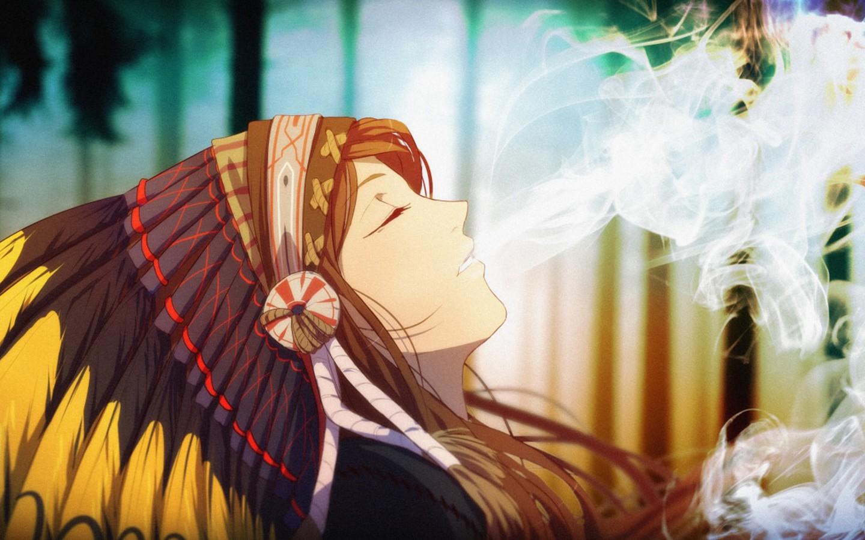 Girl Good Night Wallpaper Wallpaper Anime Smoke Smoking Native American