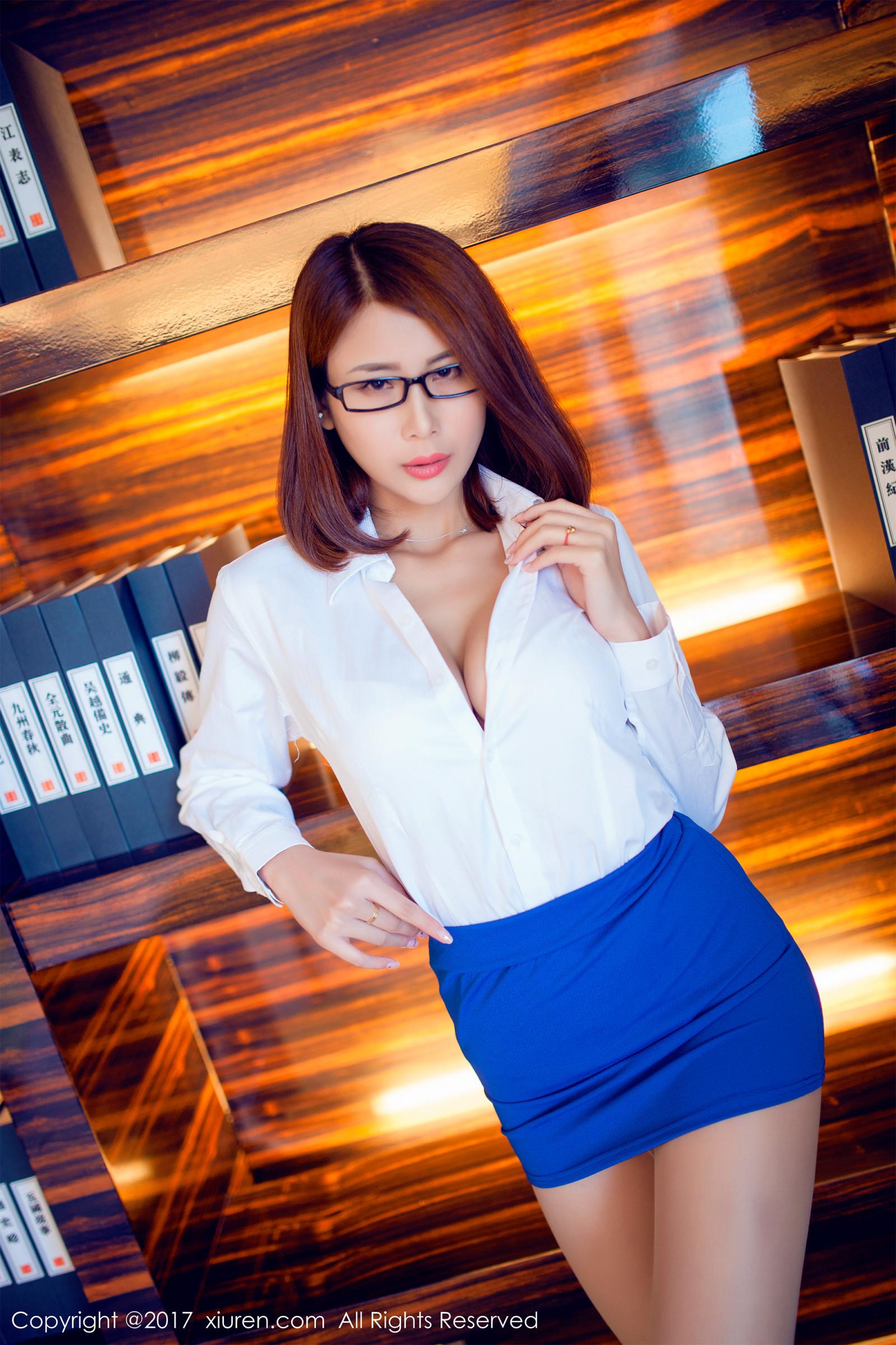 Girl With Glasses Wallpaper Wallpaper Office Girl Open Shirt Cleavage Blue Skirt