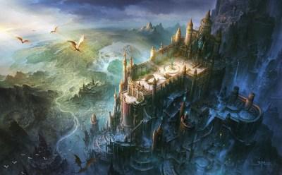 Wallpaper : fantasy art, castle, dragon, bird's eye view, mythology, ghost ship, Terrain ...