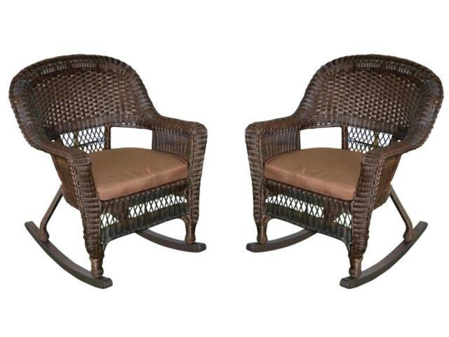 Set Of 2 Espresso Resin Wicker Outdoor Patio Rocker Chairs
