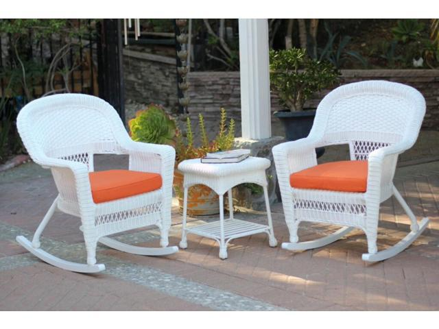 3 Piece Ariel White Resin Wicker Patio Rocker Chairs And