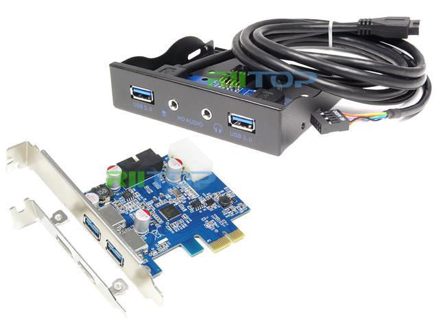 PCI-e Express USB 30 Adapter Card + 35 inch USB 30 Front Panel