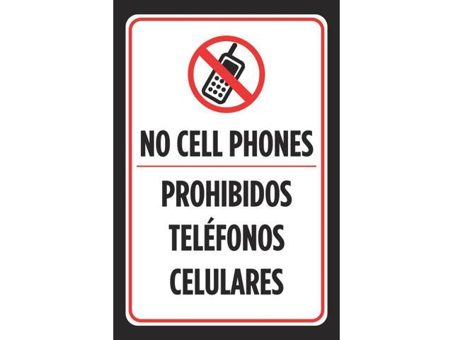 No Cell Phones Prohibidos Telefonos Celulares Spanish Print Sign