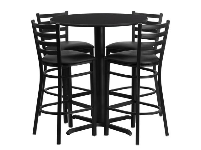 303939 Round Black Laminate Table Set With X Base And 4