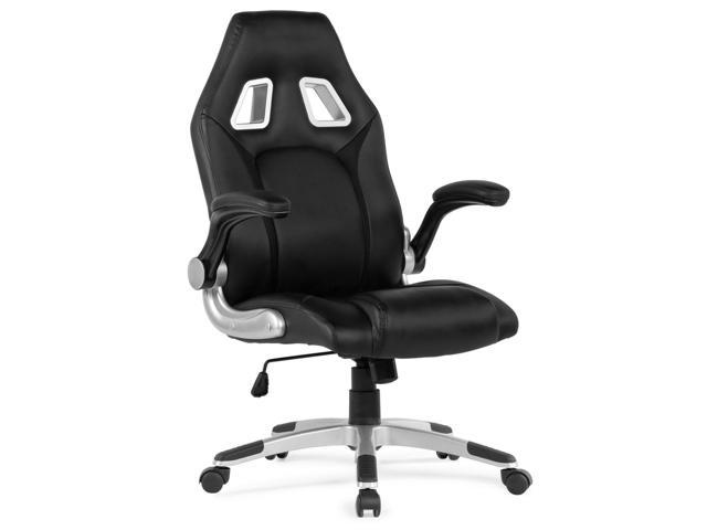 Belleze Racing High Back Office Chair Black Faux Leather