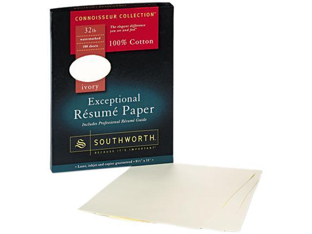 Southworth RD18ICF 100 Cotton Résumé Paper, 32 lbs, 8-1/2 x 11