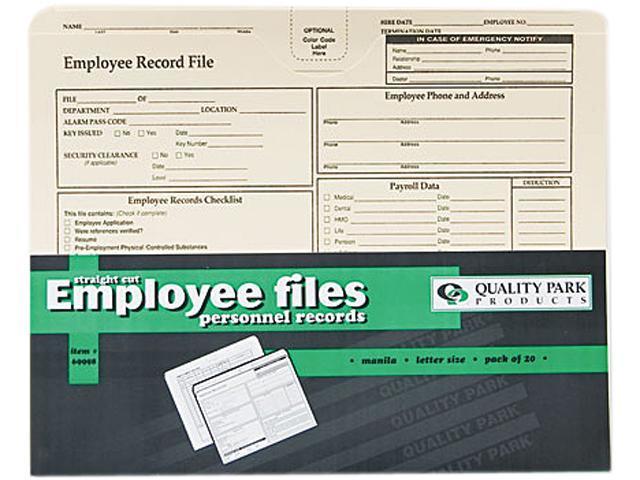 Employee Record Folder, Top Tab, Letter, Manila, 20/Pack - Newegg