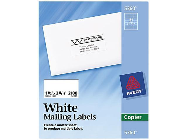Avery 5360 Self-Adhesive Address Labels for Copiers, 1-1/2 x 2-13/16