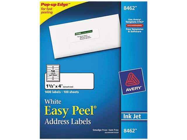 Avery 8462 Easy Peel Inkjet Address Labels, 1-1/3 x 4, White, 1400