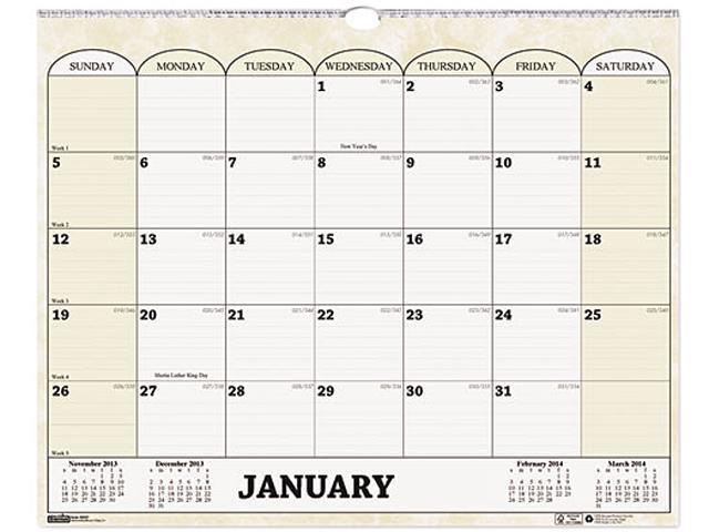 House Of Doolittle HOD319 Monthly Horizontal Wall Calendar, 15 x 12