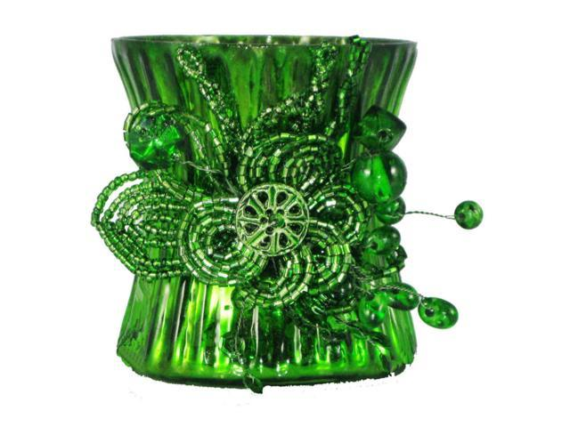 Set Of 2 Emerald Green Mercury Glass Votive Candle Holders