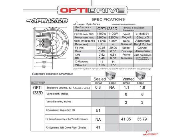 Lanzar - Optidrive 12\u0027\u0027 Die-Cast Aluminum Alloy Cone Dual 2 Ohm