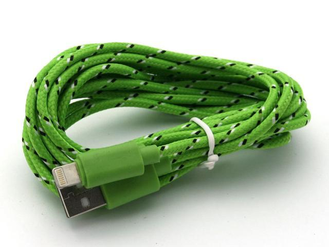 3 Meter Green Braided Sync Lightning Data Cable USB Charging Cable