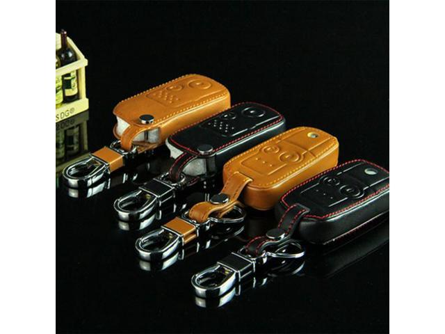 Car Remote Key Chain Leather Cover Holder Fob With Buckle