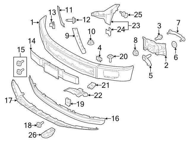 Genuine Ford OEM Front Bumper Face Bar 2015 Ford F-150 F150
