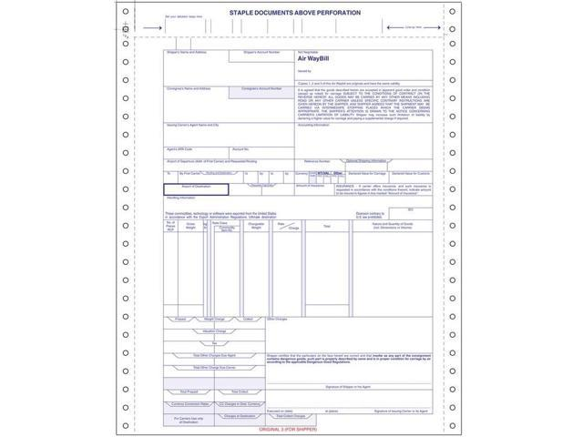 International Air Waybill form, 4 part Snap Set, 9-1/2\