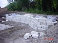 "Chopped stone retaining wall   6"" chopped limestone ..."