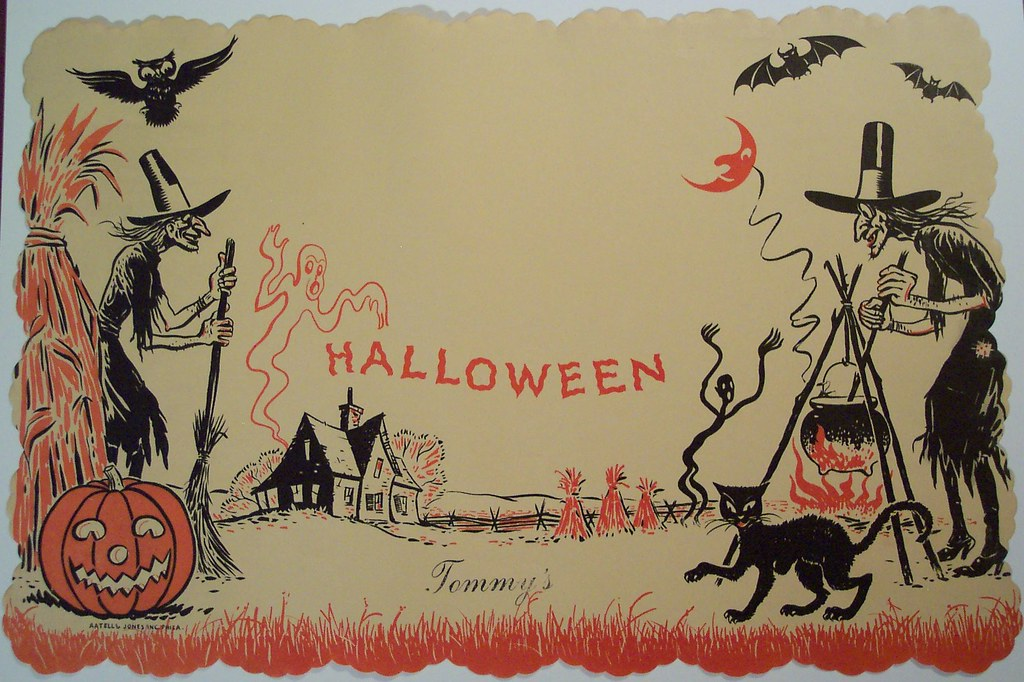 Happy Thanksgiving 3d Wallpaper Vintage Halloween Paper Place Mat Vintage Halloween