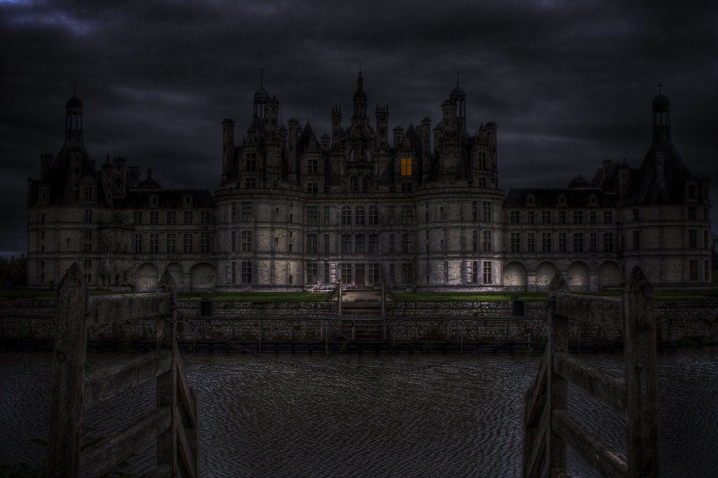 Black And White Gothic Wallpaper Haunted Castle Chateau Chambord In France Enhanced