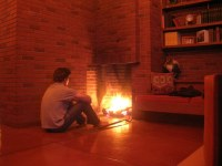 Frank Lloyd Wright Fireplace | Enjoying the fire in Frank ...