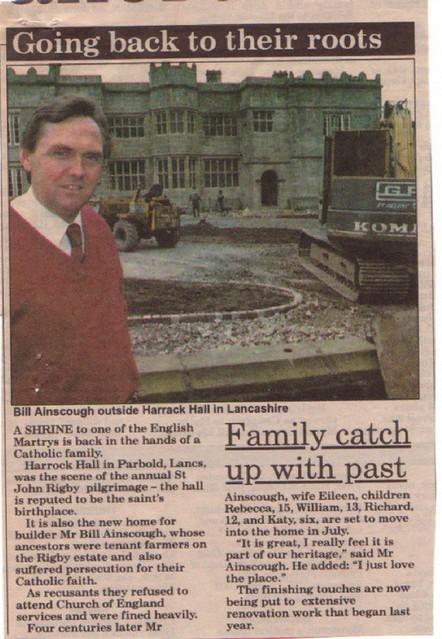 Entry9 Harrock Hall 7th July 1991 Newspaper Cutting Taken