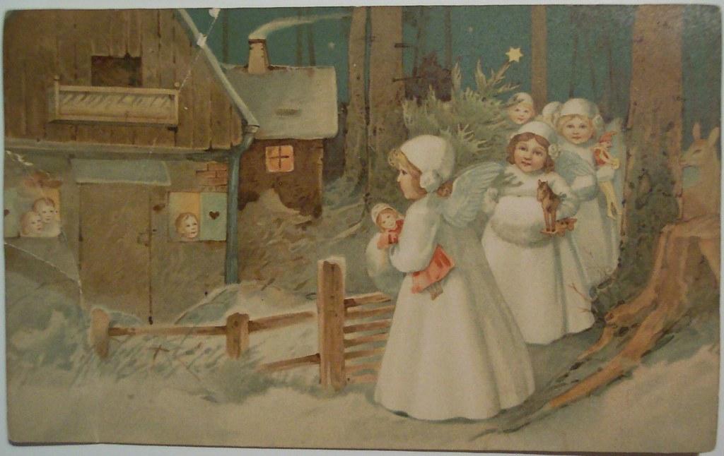 3d Cat Wallpaper Hd Vintage Christmas Angels Postcard Dave Flickr