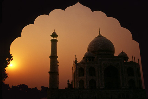 Foto Wallpaper 3d Taj Mahal Sunset The Doorway From An Adjacent Structure