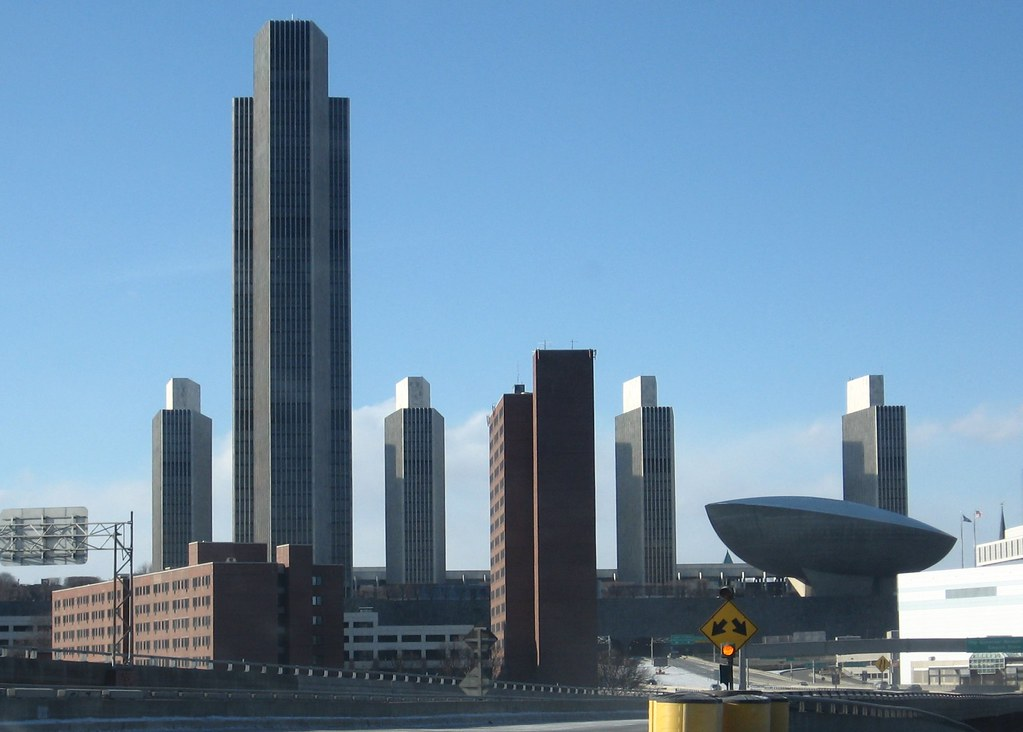 White 3d Wallpaper Hd Empire State Plaza Taken While Driving On The South Mall