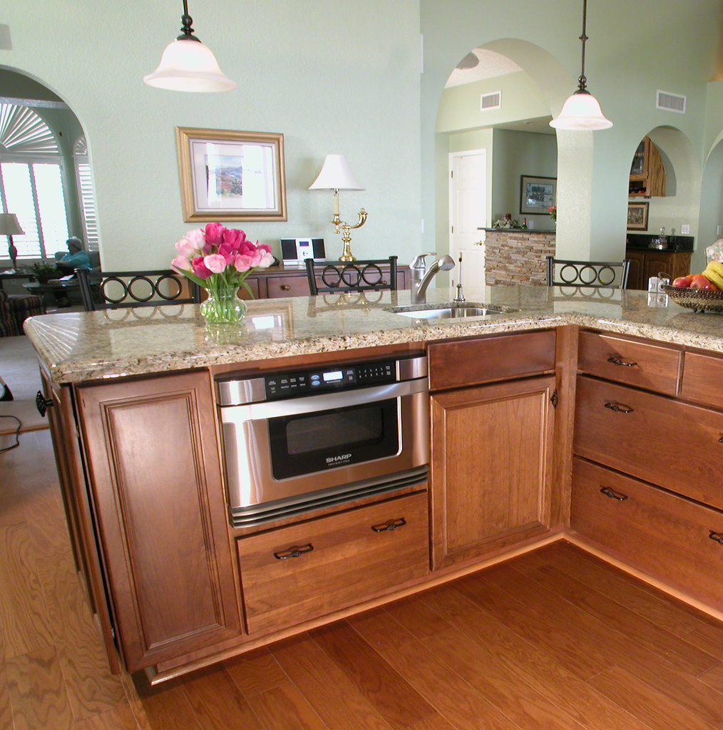 Kitchen Island With Granite Microwave In A Drawer | This Island Is An Important Part
