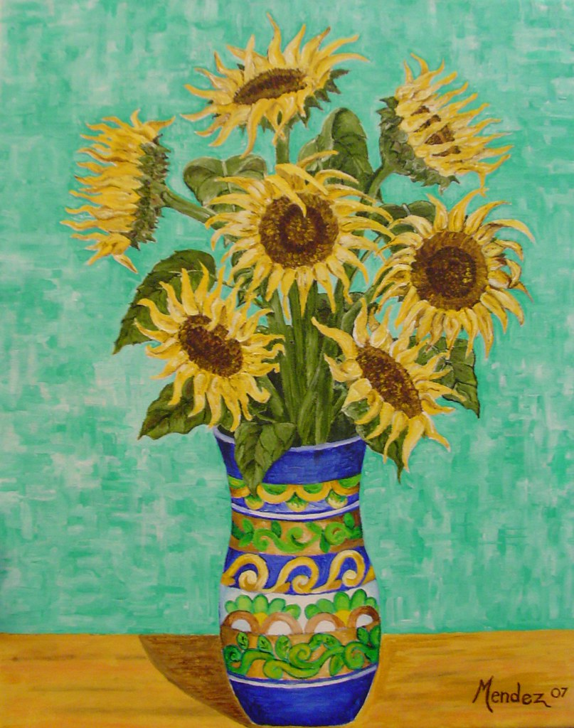 Cuadro De Los Girasoles Girasoles 20x16 Acrylic On Canvas Inspired By Van Gogh An Flickr
