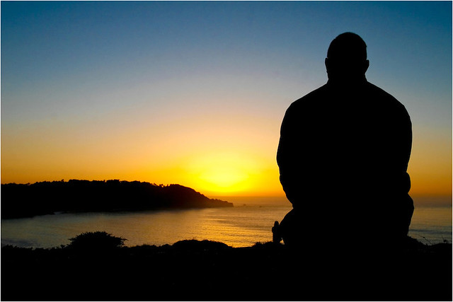 3d Wallpaper Alone But Not Lonely A Man Watches The Sunset Alone