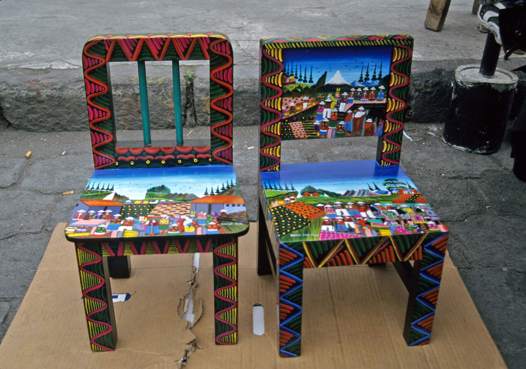 Cucina Moderna Shabby Chic Painted Chairs | Two Wood Chairs Painted In The Quichua