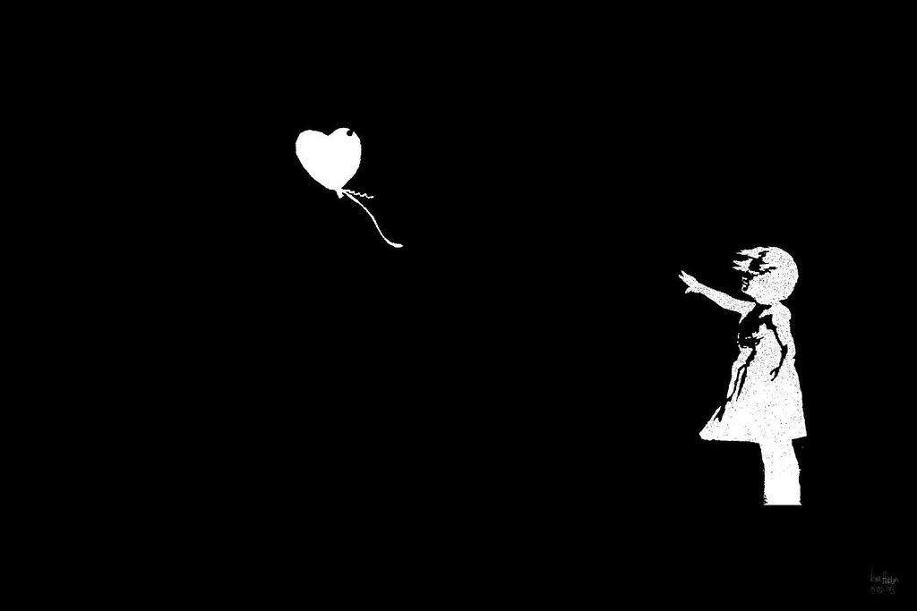 Desktop Background Wallpaper 3d Banksy Girl Bw Balloon I Took Banksy S Stencil And