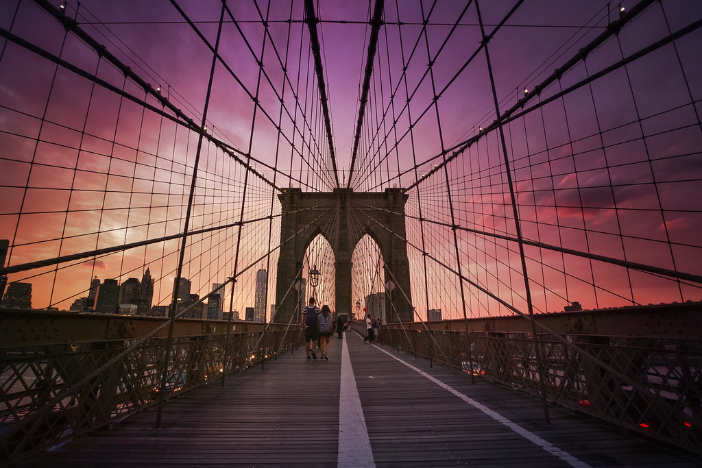 Stores That Have 3d Wallpaper Brooklyn Bridge Sunset New York City Sunset As Seen