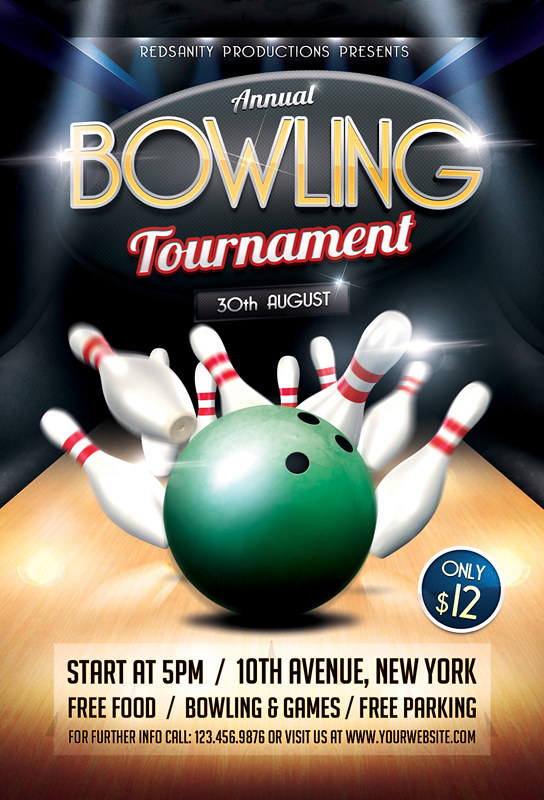 Bowling Tournament Flyer Template DOWNLOAD the Photoshop f\u2026 Flickr