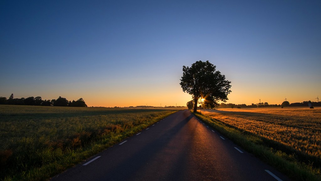 Free Fall Wallpaper Sunrise Road Early Morning Countryside Road