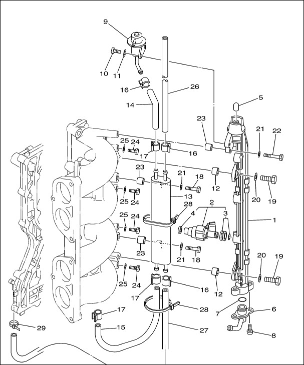 diesel fuel filter assembly for tractors