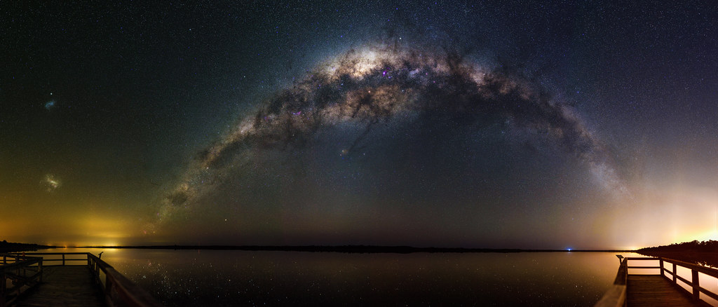 3d Wallpaper Night Sky Milky Way Setting Over Lake Clifton Western Australia