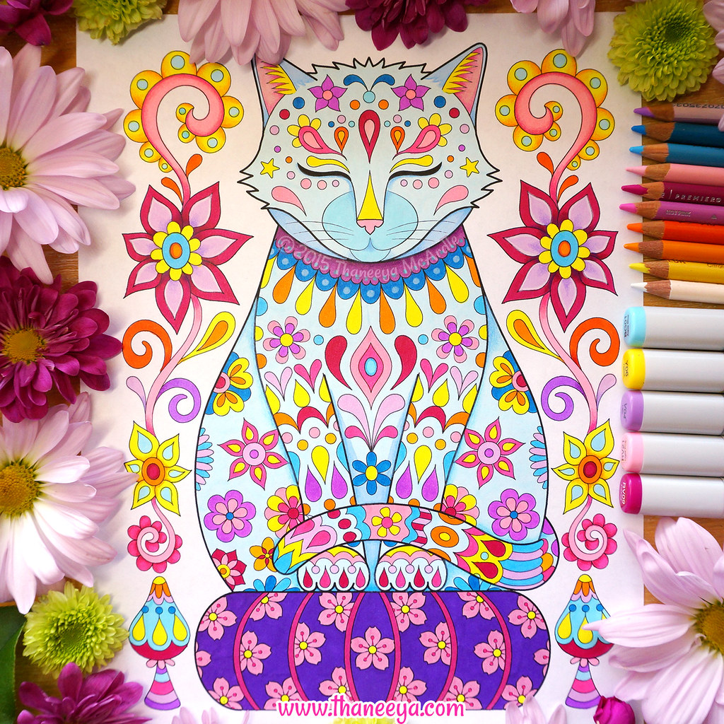 Zen cat coloring page -  Zen Cat Meditating Kitty Coloring Page By Thaneeya Mcardle Download