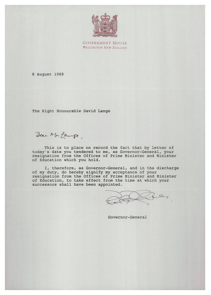 Letter accepting resignation of David Lange as Prime Minis\u2026 Flickr - accepting resignation